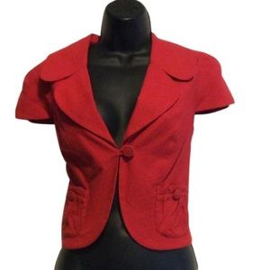 Debbie Shuchat Jackets & Coats - Debbie Shuchat Red cap sleeve cropped jacket